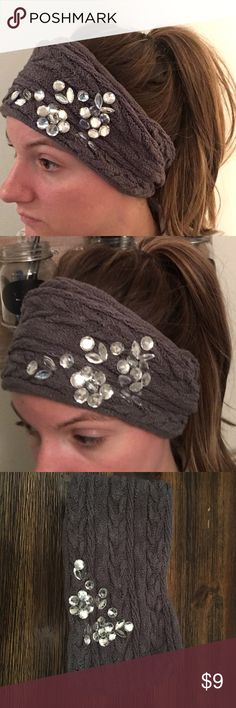 Grey ear warmer with jewels Worn only once or twice. Adorable accessory :) Accessories Hats