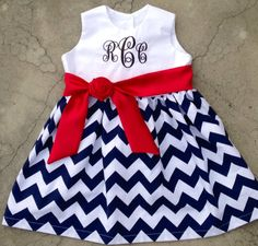 Girls Chevron Dress Monogrammed Navy and White Chevron with Satin Sash Custom Boutique. Fourth of July Dress