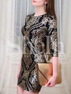 Vestido lentejuelas entallado -negro dorado 21.33