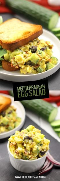 Change up your lunch routine with this healthy and nutritious Mediterranean Egg Salad recipe. It's lightened-up with greek yogurt and packed full of flavor with olives, sun-dried tomatoes and cucumber. Perfect for lunch on the go!