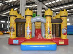 Inflatable Yellow castle bouncer ,Inflatable Moonwalks,Inflatable Games