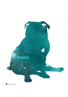 Pug Watercolor Painting Custom Dog Silhouette by Silhouetown