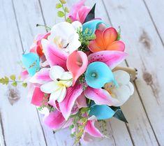Boda a rosa, Coral y turquesa Aqua Touch Natural orquídeas, lirios, Callas y Plumerias seda florecen ramo de novia - huevo menta de Robbin