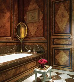 Anne McNally Paris home's bathroom by Jacques Garcia.