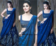 For the launch of DJ, actress Pooja Hegde picked a navy blue embellished lehenga from Jade by Monica and Karishma. Indian Gowns Dresses, Indian Fashion Dresses, Dress Indian Style, Indian Designer Outfits, Pakistani Clothing, Abaya Style, India Fashion, Japan Fashion, Wedding Lehenga Designs