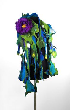 Turquoise Scarf Felted Scarf Nunofelt WATER LILY with by filcant, $199.00
