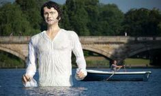 Enormous Mr. Darcy standing in the Serpentine Lake in London's Hyde Park.