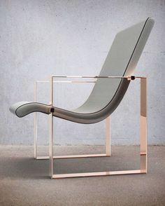 Rose gold. Grey leather. / #furniture