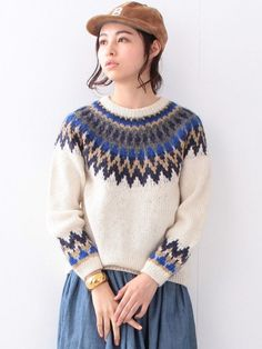 手編み ノルディック クルー Girls Sweaters, Winter Sweaters, Sweaters For Women, Icelandic Sweaters, Nordic Sweater, Fair Isle Pattern, Fair Isle Knitting, Sweater Design, Knit Fashion