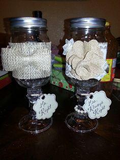 Redneck wine glassses burlap and lace wedding