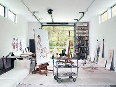 Inside Jack Ceglic's East Hampton Home - Art studio Ideas - Design Home Art Studios, Studios D'art, Artist Studios, Art Atelier, Atelier Creation, Garage Art Studio, Art Studio At Home, Painters Studio, Art Studio Design