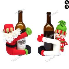 1pc Christmas Red Wine Bottle Pendant Sets Cover Bags Hug Santa Claus Snowman Doll Home Xmas Dinner Table Party Decoration