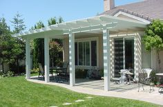 Patio, half fully covered and half slatted! Garden Yard Ideas, Backyard Projects, Patio Ideas, Outdoor Pergola, Outdoor Rooms, Outdoor Kitchens, Patio Design, House Design, Garden Seating