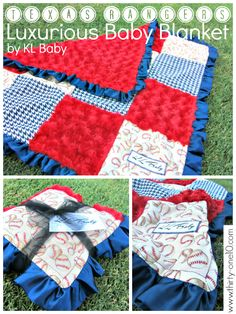Handmade Gift: Luxurious Baby Blanket by KL Baby for Texas Rangers Baby Gift Basket