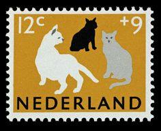 cat Stamp - Netherlands, 1964 (Design by Jos van den Berg)