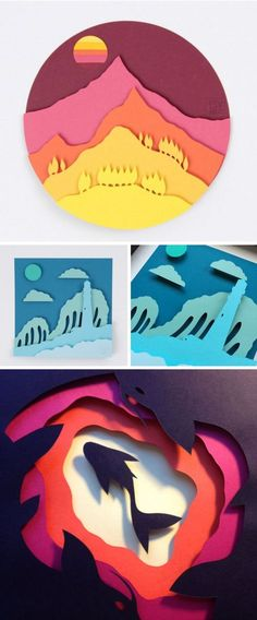 Intricate Cut Paper Shapes Produce Dramatic Dioramas Eric Pow of POWpaper creates a strong visual impact with his colorful paper craft. Cutting pieces in sections, he layers the compositional. Paper Cutting, Art Projects, Projects To Try, Diy And Crafts, Paper Crafts, 3d Paper Art, Paper Illustration, Art Plastique, Diy Art
