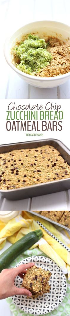 Mix your veggies and chocolate with this healthy Chocolate Chip Zucchini Bread Oatmeal Bars recipe! They're super moist and nutritious but taste like a decadent piece of summer. Plus it's a whole serving of vegetables! Mix your veggies and chocolate with