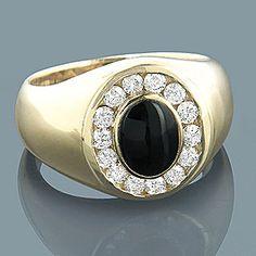 14K Mens Diamond Black Onyx Ring 0.70ct