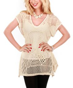 Look what I found on #zulily! Cream Crocheted V-Neck Pullover Sweater by Lily #zulilyfinds