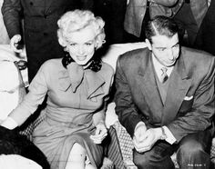 Marilyn Monroe and Joe Di Maggio at a press conference in Japan, February 3rd 1954.