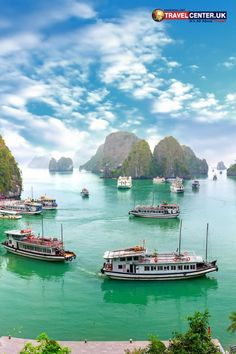 Green waters, blue skies, attractive boats and cliffs make Ha Long bay a wholesome destination. Halong bay also presents beautiful sunset sceneries in the evening. #halongbay #sky #travelvietnam #itsallabouttravel #travelcenteruk