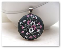 Floral Jewelry Floral Pendant Polymer Clay Jewelry by Floraljewel