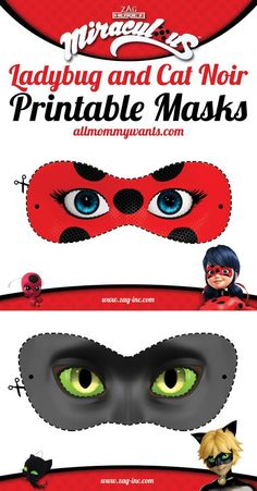 nice Printables: Miraculous Adventures of Ladybug and Cat Noir Masks
