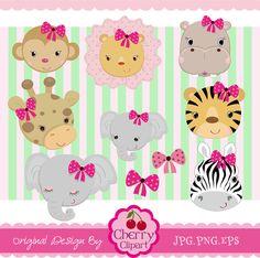 Girls Jungle Animals_ Animals faces Digital by Cherryclipart, $4.50