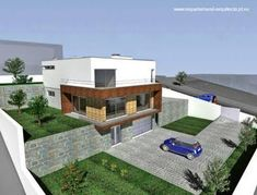 Casa en desnivel, estilo Contemporáneo