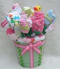 Great baby shower gift idea- basket of baby supplies like flowers :) Baby Girl Gift Baskets, Baby Shower Baskets, Baby Girl Gifts, New Baby Gifts, Baby Girls, Homemade Gifts, Diy Gifts, Baby Hospital Gifts, Cute Baby Shower Gifts