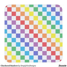 Checkered Rainbow Square Paper Coaster
