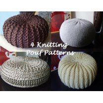 4 Knitted Pouf Floor cushion Patterns & Tutorials Pouffe Knitting pattern by isWoolish Pouf En Crochet, Knitted Pouffe, Crochet Hooks, Knitted Cushions, Knitted Shawls, Flower Patterns, Knitting Patterns, Crochet Patterns, Knitting Ideas
