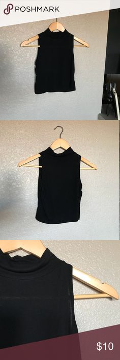 Women's small black crop top Women's small black crop top. In good condition. Is a bit see-through. Has no damage. Brandy Melville Tops Crop Tops