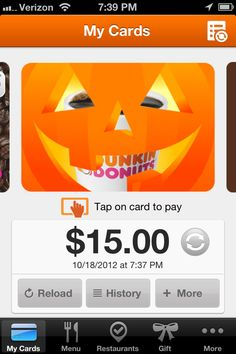 LimiteDD Edition Pumpkin DD Card for the Dunkin' App. To get the app, click on the pin!