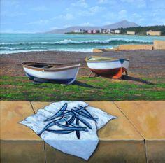 Marine landscape - oil on canvas - 69x69 cm.