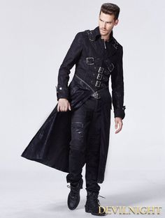 Black Gothic Punk Cross Long Trench Coat for Men / dark steampunk fashion / dystopia / sci fi / men's fashion / post apocalyptic inspiration / all black