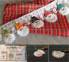 https://www.facebook.com/pages/Chiquinha-Artesanato/345067182280566  Papai Noel em crochê Podemos usar este barradinho em toalhas de mesa, de prato, fronhas, colchas, ...   PAP: http://pontopreso1.blogspot.com.br/2013/10/croche-diversificando-o-noelzinho.html