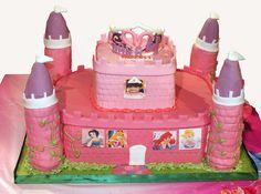 Disney Princesses Cake - Find more Disney Princess Birthday Party Ideas at http://www.birthdayinabox.com/party-ideas/guides.asp?bgs=94