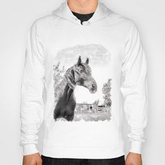 Horse in the Field. Black and White. Long Sleeve T-shirt