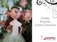 Detalle Centro de Comunión para niña en tonos rosas pastel