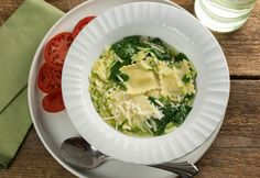 Ravioli Soup with Grated Zucchini and Spinach