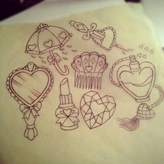 Girly tattoo flash art. How cute! the heart/knife one; oh my god <3
