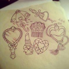 Girly tattoo flash art. How cute!  the heart/knife one; oh my god <3