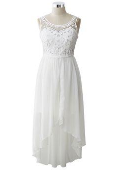 Eternal Love Beads Embellished Asymmetric Chiffon Dress