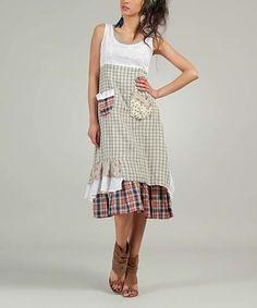 Look what I found on #zulily! Gray Plaid Pocket Midi Dress #zulilyfinds