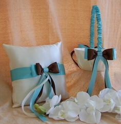 Tiffany Blue & Chocolate Brown Wedding Colors, Basket and Pillow Set