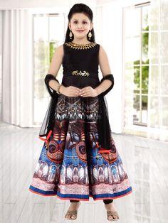 Brown Printed Silk Anarkali Suit