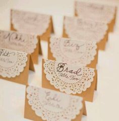 place cards with doilies x