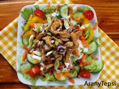 Vitaminsaláta gyros csirkemell csíkokkal Cobb Salad, Diet Recipes, Hamburger, Paleo, Low Carb, Mexican, Yummy Food, Ethnic Recipes, Delicious Food