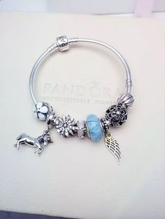 50% OFF!!! $219 Pandora Charm Bracelet Blue White. Hot Sale!!! SKU: CB02028 - PANDORA Bracelet Ideas